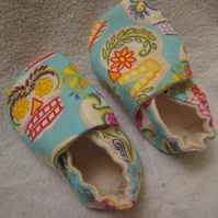 Turquoise sugar skull newborn crib shoes