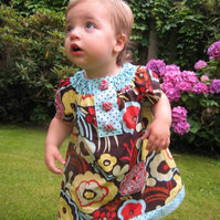 Mocha flowers peasant dress, 0-1 yr, 1-2yrs, 2-3yrs