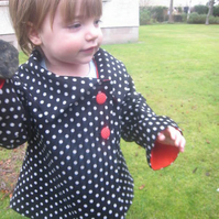 Reversible spotty corduroy and red cotton jacket with asymetrical collar