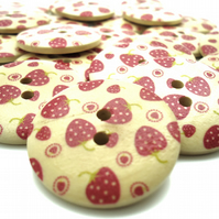 5 x Strawberry Buttons - Wooden Buttons - 30mm