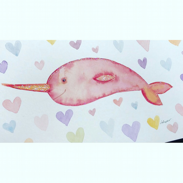 Original Painting sparklyfied Narwhal Jo Roper
