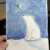 Original Painting Polar Bear wishing Jo Roper