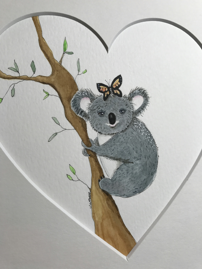 Original Painting Koala and butterfly Jo Roper