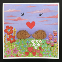 "Hedgehog LOVE  is a 9"" x 9"" giclee Print by Jo Roper Art"