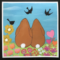"Bunny LOVE  is a 9"" x 9"" giclee Print by Jo Roper Art"