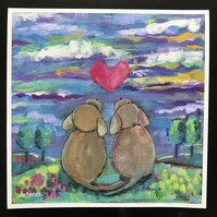 "Puppy LOVE  is a 9"" x 9"" giclee Print by Jo Roper Art"