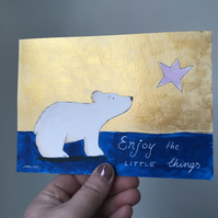 Original Painting gold polar bear STAR Jo Roper