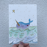 Original Painting Narwhal LOVE Jo Roper