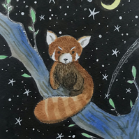 Original Painting Red Panda Baby  by Jo Roper