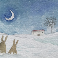 Original Painting Snow Day Bunnies by Jo Roper