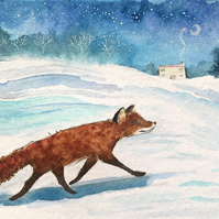 Original Painting Early Hours fox walk  by Jo Roper