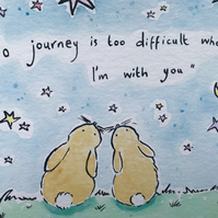 Bunnies on a journey together Original painting Jo Roper