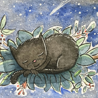 Some Cats sleep anywhere ACEO Original painting Jo Roper