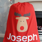 Personalised Christmas Sack Reindeer Design Any Name Personalized - Red XL