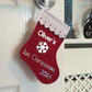 Personalised Baby's First Christmas Red Mini Stocking, 1st Xmas Tree Decoration