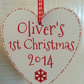 Personalised Baby's First Christmas Heart Tree Decoration 1st Xmas Keepsake Gift