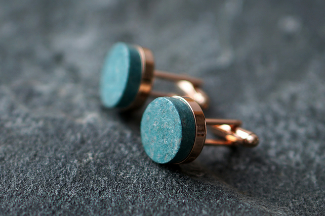 Teal Paper Cufflinks, First Anniversary Gift