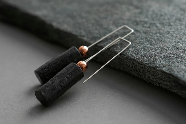 Recycled paper and silver earrings