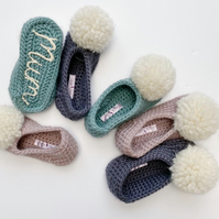Handmade Luxury Merino Wool Crocheted Personalised Pompom Slipper Socks