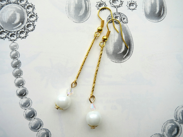 Art Deco Style Glass Pearl And Crystal Earrings Gold