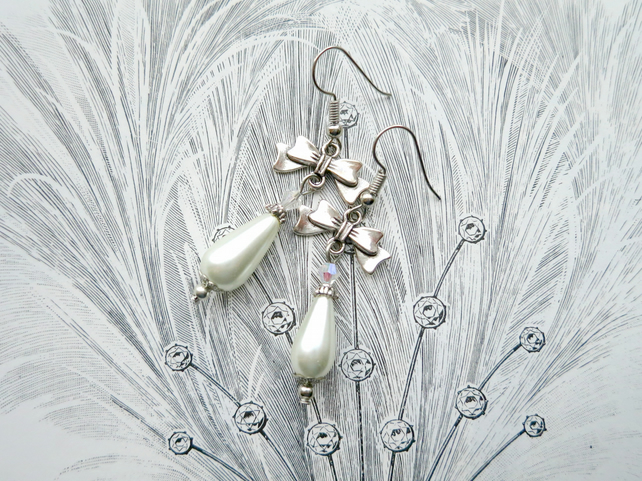 Ivory Teardrop Glass Pearl And Crystal Bow Earrings