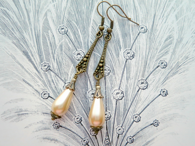 Cream Teardrop Glass Pearl Art Deco Style Bronze Earrings