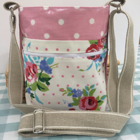 Cross body oilcloth bag