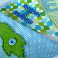 Green and blue boy's personalised bunting, name banner