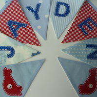Boy's personalised bunting in red and blue
