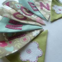 Girl's personalised bunting - nature bunting pretty pinks, taupe, blue and green