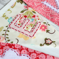 Girl's personalised bunting - floral bunting in pink, red, cream, blue, green