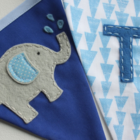 Elephant name banner - Elephant personalised bunting - blue or pink