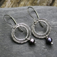 Ripple Silver and Pearl earrings