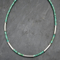 Turquoise and silver macaroni necklace