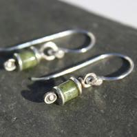 Reels  - silver and Jade earrings