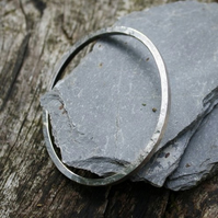 Solid silver oval bangle