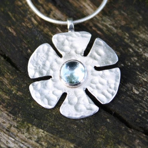Flori, Silver and Topaz Flower Pendant on snake chain