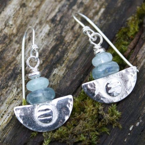 Ulu Earrings , handmade silver aquamarine and kyanite drop earrings