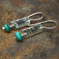 Notched silver and turquoise earrings