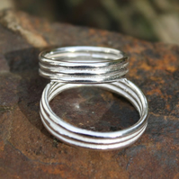 Sterling Silver ring Ribbed Band Unisex