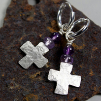 silver cross earrings Amethyst