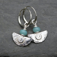 Ulu Earrings , handmade silver and Amazonite drop earrings