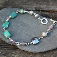 Silver amazonite, lepidolite and pearl bracelet