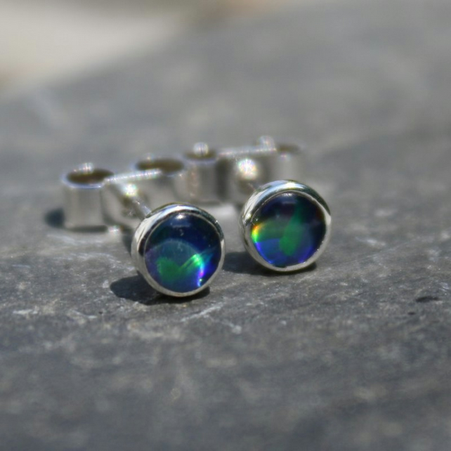 Opal stud earrings sterling silver, small gemstone studs