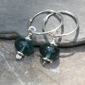 Fluorite sterling silver earrings