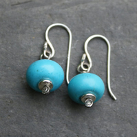 Turquoise magnesite sterling silver earrings