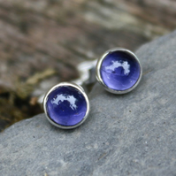 Small iolite stud earrings sterling silver , gemstone studs