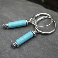 Scrolls silver and turquoise earrings