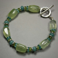 Chunky gemstone and silver bracelet