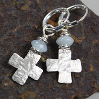 silver cross earrings Aquamarine